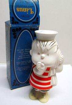 Vintage AVON, Linus Non-Tear Shampoo 1970 With Original Box, Bottle is Empty by VINTAGEandMOREshop on Etsy https://www.etsy.com/listing/223446964/vintage-avon-linus-non-tear-shampoo-1970
