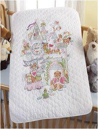 Bucilla ® Baby - Stamped Cross Stitch - Crib Ensembles - Fairytale Castle - Crib Cover