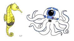 """Sea-3PO""  ""Octo-D2"" by Alyssa Nicole. Hee. :)"