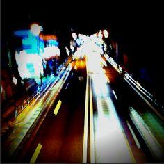 Light Streams (#slowshutter #photogene #path #pro). Koshukaido, Chofu, Tokyo, Japan