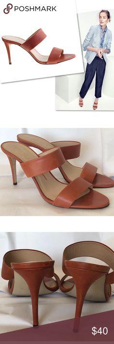 J.CREW LENA BROWN LEATHER SLIDES SANDALS HEELS 8 J.CREW LENA BROWN LEATHER SLIDES SANDALS HEELS SZ 8 J. Crew Shoes Sandals