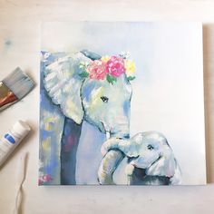 Original Watercolor and Canvas Artwork by ChristieRenfroArt Elephant Artwork, Elephant Love, Elephant Paintings, Tattoo Elephant, Animal Drawings, Cute Drawings, Elephant Illustration, Canvas Artwork, Painting Inspiration