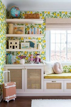 Such a happy room! 🍋 // Olli Ella dotted throughout this lovely room by the talented Cute Teen Rooms, Little Girl Rooms, Kids Rooms, Home Staging, Happy Room, Kids Room Wallpaper, Wallpaper Ideas, Diy Home, Wall Art