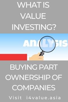 Value investing focus on protecting the downside and letting the upside take care of itself. Investing in equities is a skill that can be learned. The page provides a guide on how to learn to be a value investor by developing 2 basic skills - how to analyse companies and how to value them. You also need to learn about risk mitigation. You learn concepts and use case studies to clarify what you have learned. #i4value #valuation #dividendinvesting #indexfund #investingmoney Value Investing, Investing In Stocks, Investing Money, Fundamental Analysis, Technical Analysis, What Are Values, Investment Books, Intrinsic Value, Company Financials