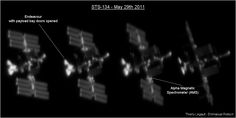 Passage of the International Space Station and Endeavour, taken on May 29th 2011 at 3:55UT from the area of Pau, France, after installation of the AMS (Alpha Magnetic Spectrometer). The video is accelerated 2.5 times (acquisition at 10 fps, video at 25 fps). The altitude of the ISS is 360 km (200 miles), for a size of a hundred metres. The speed of ISS is 17,000 miles per hour and its angular speed at zenith is 1.3° per second.