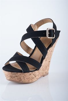 Simple Strap Cork Wedges - Black from Sandals at Lucky 21 Lucky 21
