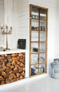 Creative fireplace wood storage