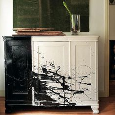 Spruce up an old piece of furniture with black and white paint like this Paint spattered dresser featured in Handmade Home. Source: Photo courtesy of Debi Treloar for The Handmade Home