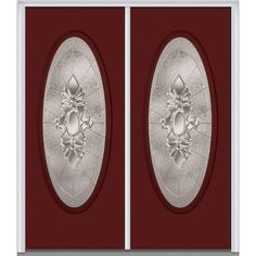 Milliken Millwork 66 in. x 81.75 in. Heirloom Master Decorative Glass Full Oval Lite Painted Fiberglass Smooth Exterior Double Door, Red