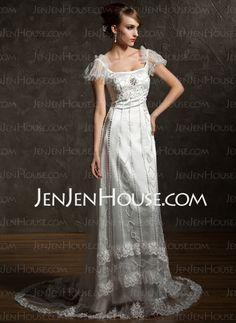 Wedding Dresses - $168.49 - Sheath/Column Scoop Neck Square Neckline Sweep Train Satin Tulle Wedding Dresses With Lace Beadwork (002012089) http://jenjenhouse.com/Sheath-Column-Scoop-Neck-Square-Neckline-Sweep-Train-Satin-Tulle-Wedding-Dresses-With-Lace-Beadwork-002012089-g12089