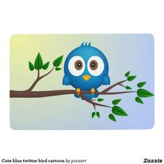 Cute blue twitter bird cartoon floor mat
