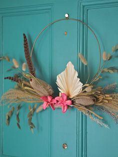 Dried flower door wreath on blue door. Large Flowers, Dried Flowers, Hallway Paint, Make A Door, Topps Tiles, Picture Shelves, Paint Brands, Local Florist, Caramel Color