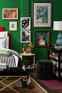 Love this eclectic and glamorous green bedroom style!