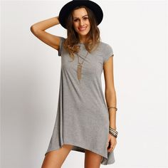 New Arrival Womens Summer Dresses 2016 Ladies Grey Asymmetric Casual Round Neck Short Sleeve Shift Tees Dress