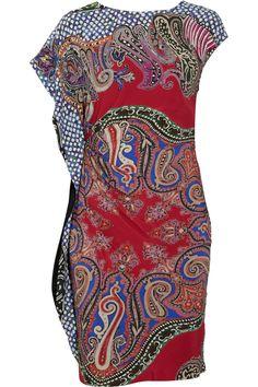 Etro|Ruched printed crepe dress|NET-A-PORTER.COM