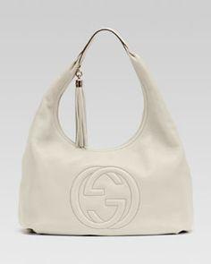 V1CRA Gucci Soho Leather Hobo, White