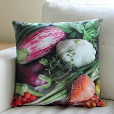 Holly's Vegetables Pillow by Larkspur Hill on Spoonflower
