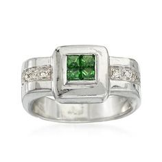 C. 1990 Vintage .20 ct. t.w. Tsavorite and .10 ct. t.w. Diamond Ring in 18kt White Gold. Size 6