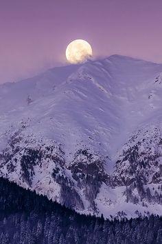 Moonset over the Carpathian Mountains by Ionut Burloiu