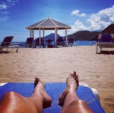 On the beach at the St. Kitts Marriott Resort. #SandorCity Contest: St Kitts #TravelBrilliantly