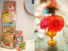 Vintage baby shower details. Could DIY the blocks with pages from vintage books, mod podge and wooden blocks.