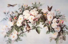 Victorian ROSES and Butterflies Bird Rose - Paul de Longpre