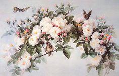 Victorian ROSES and Butterflies Bird Rose - Paul de Longpre