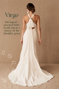 Zodiac fitted wedding dress with bow inspiration – Virgo Top Wedding Dresses, Cute Wedding Dress, Bridal Dresses, Dream Wedding, Spring Wedding, Elegant Wedding, Wedding Attire, Wedding Dresses Halter Top, Tailored Wedding Dress