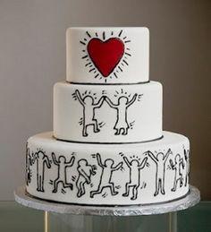 Amazing Keith Harring love wedding cake     http://mariages.net/usr/9/5/6/6/cfb_59801.jpg