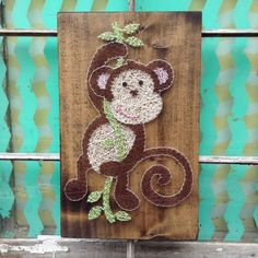 Swinging Monkey String Art Monkey Nursery Decor by NailedItDesign