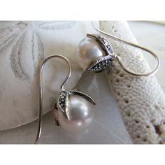 Winter White earrings, Marcasite earrings, Swarovski Pearl earrings,... ($50) ❤ liked on Polyvore featuring jewelry, earrings, birthstone earrings, holiday jewelry, special occasion jewelry, polish jewelry and evening earrings