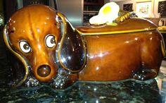 Vintage kitsch dachshund cookie jar.