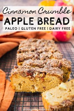Packed with fall spices, crunchy apples, this healthy cinnamon apple bread is moist, fluffy and so soft. It is easy to make, gluten free and paleo friendly. Paleo Apple Recipes, Healthy Bread Recipes, Dairy Free Recipes, Pumpkin Recipes, Real Food Recipes, Paleo Bread Recipe Easy, Gluten Free Pumpkin Bread, Paleo Baking, Gluten Free Baking