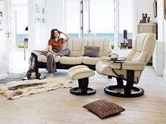 Achieve non stop comfort with a Stressless sofa, every seat reclines and it has all the famous Ekornes Stressless comfort features of a recliner.