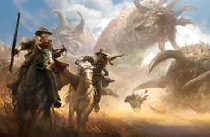 Cowboys fighting an eldritch horror.
