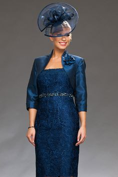 Lace dress with beaded belt and bolero jacket (as shown in silver) Product Code: 884148 Colours: Navy, Silver