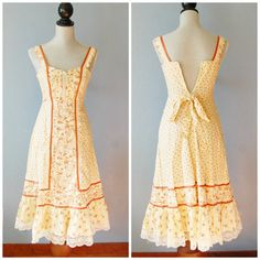 2405aebc7dd Vintage Sundress Size 5 1970s 80s Floral Bird Toile Boho Lace Up Front  Small Homespun Label Extra Small
