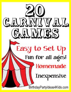 20 Fun and Easy Carnival Style Games!   Great for Fall Festivals, birthday parties or circus parties!   Easy to set up!   Inexpensive and most use recycled items from around the house.  Fun for all ages!!  #carnivalgames #harvest #fall #party http://www.birthdaypartyideas4kids.com/carnival-games.htm