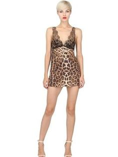 Lacy Printed Stretch Silk Satin Chemise on shopstyle.com