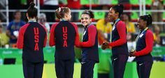 RIO DE JANEIRO, BRAZIL - AUGUST 09:  (R to L) Gold Medalists Simone Biles, Gabrielle Douglas, Lauren Hernandez, Madison Kocian and Alexandra Raisman of the United States stand on the podium at the medal ceremony for the Artistic Gymnastics Women's Team Final on Day 4 of the Rio 2016 Olympic Games at the Rio Olympic Arena on August 9, 2016 in Rio de Janeiro, Brazil.  (Photo by Alex Livesey/Getty Images)