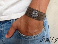 Burt Gray Men's Bracelet - Men Coin Bracelet - Men Leather Bracelet - Men's…
