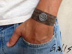 Burt Gray Men's Bracelet - Men Coin Bracelet - Men Leather Bracelet - Men's…
