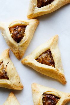 Caramelized Onion and Poppy Seed Hamantaschen Recipe - NYT Cooking Poppy Seed Hamantaschen Recipe, Cakes By Melissa, Poppy Seed Filling, Brunch Cake, Caramelized Onions, A Food, Food Processor Recipes, Roast, Snacks