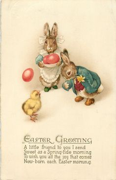 EASTER GREETING  eggs, chick, two dressed rabbits