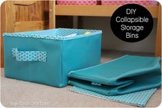 Collapsible Storage Bins Tutorial ~ Make some to hold fabric with a fabric that matches your sewing area.