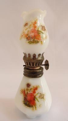 Miniature Vintage Milk Glass Oil Lamp @c99sale   #eBay