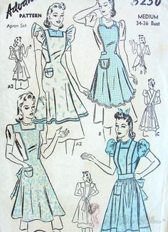 Rare 1940s WAR TIME WW II Apron Pattern Four Lovely Full Bib Styles Perfect T make For Gifts Advance Vintage Sewing Pattern 6250 Medium Bust 34-36