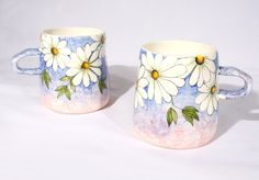 Love these!  Set of handpainted cup No1 by SylviaInDaHouse on Etsy, $80.00