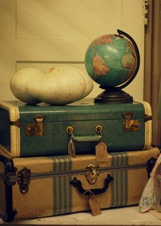 vintage globe on vintage luggage