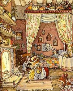 Brambly Hedge by Jill Barklem. I was enchanted by these pictures as a child..still am. Must try and get some of these books